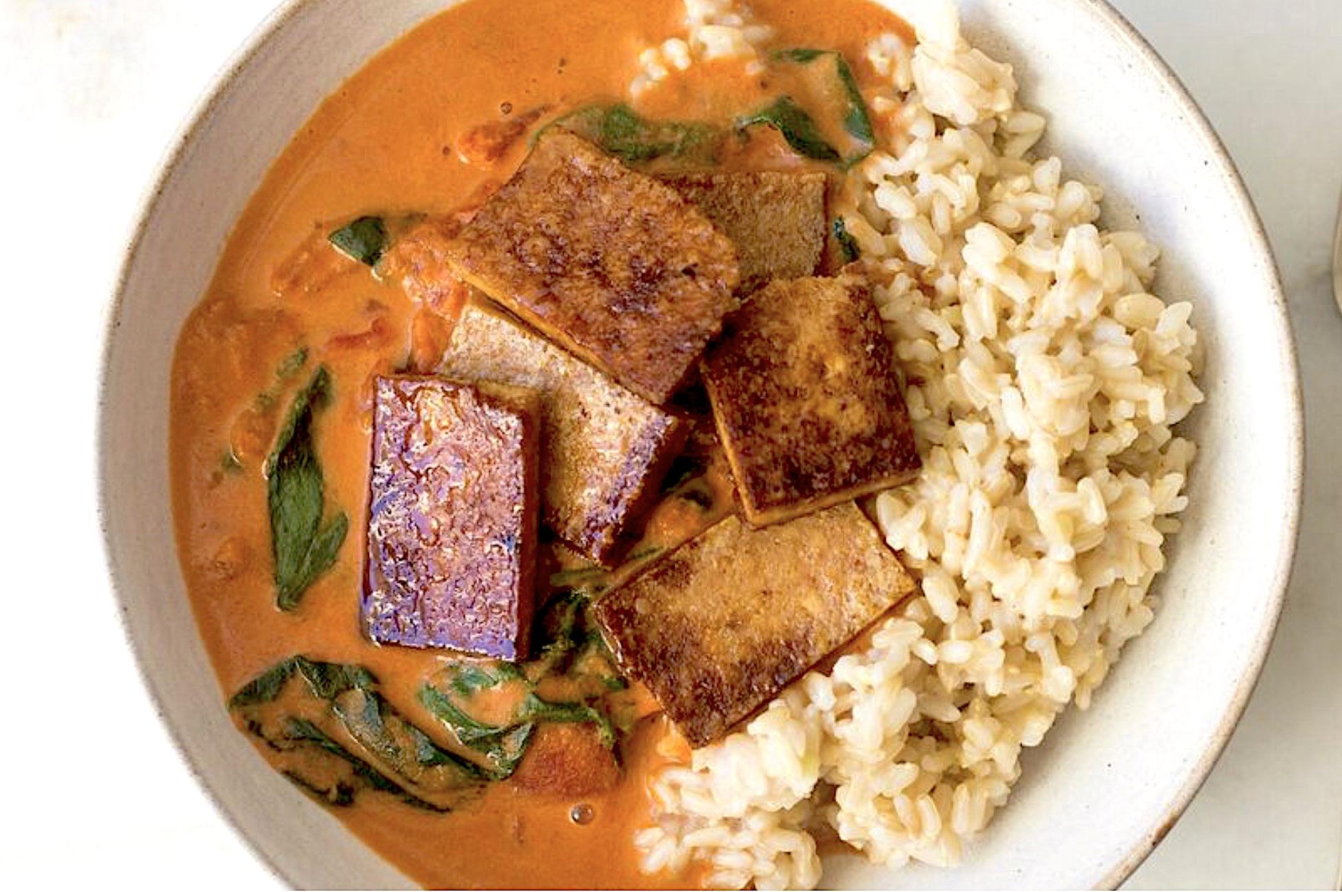 Tofu met spinazie-créme
